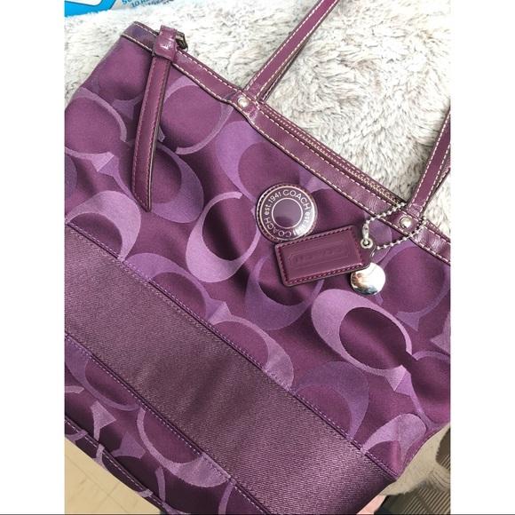 3a1907923fbd Coach handbags coach signature purple stripe tote jpg 580x580 Purple coach  signature stripe tote